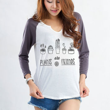 Plants are friends Funny T Shirt 3/4 Sleeve Tee Baseball Raglan Tumblr Grunge Outfit Instagram Fashion Outfit of the day Lookbook