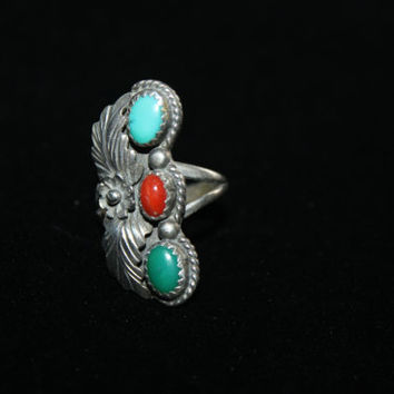 Heirloom Antiqued Sterling Silver with Coral Red and Turquoise Stones Ring Vintage Sterling Silver Ring Size 6.25 - free ship US