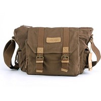 "Modovo Canvas Leisure High Capacity Thicken DSLR SLR Camera Bag Messenger Bag with 5 Movable Padded 17""x 6""x 10"", Grey"
