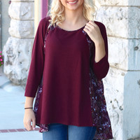 Fall Floral Back Knit {Wine}
