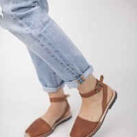 Brown Pons with Ankle Strap - cladandcloth