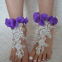 lace barefoot sandals wedding, france lace anklet, pearl flower embellishment, lace anklet beach wedding, bridal sandals, pearl frame lace