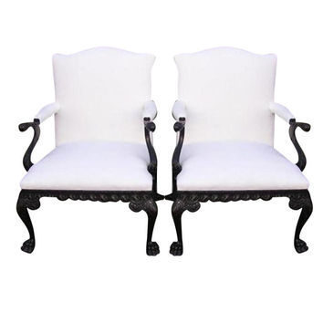 1STDIBS.COM - Golden & Associates Antiques - Pair of Library Arm Chairs