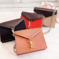 YSL fashion retro ladies color patchwork flap envelope shoulder bag