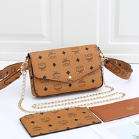 MCM Women Fashion Leather Crossbody Shoulder Bag Satchel