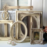 Large Antique Cream Very Distressed Vintage Ornate Frames, Set of 6 Open Shabby Chic Antique Style Wedding Frames, Oval Frame, Photo Prop