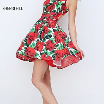 Short Red Floral Print Sleeveless Dress with Open Back by Sherri Hill