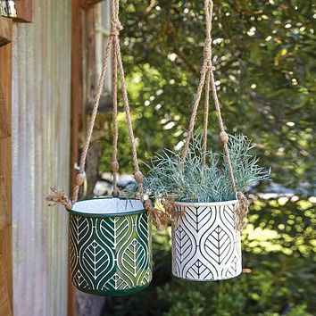 Set of 2 Green and White Hanging Metal Planters