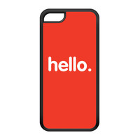 Hello Black Silicon Rubber Case for iPhone 5C by textGuy