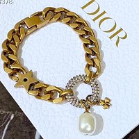 DIOR Hot Sale Woman Diamond Pearl Pendant Bracelet Hand Catenary Accessories Jewelry