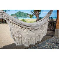Macrame Hammock, Mayan Double Hammock Indoor/Outdoor Cotton Hammock - Mission Hammocks