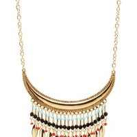 Gold Beaded Fringe Crescent Collar Necklace by Charlotte Russe