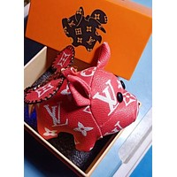 Inseva Louis Vuitton LV Fashion Women Men Chic Lovely Small Pig Bag Hanging Drop Car Key Chain Bag Accessories Red