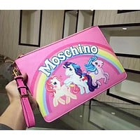 MOSCHINO Trending Women Stylish Rainbow Horse Pattern Leather Zipper Handbag Pink I13051-1