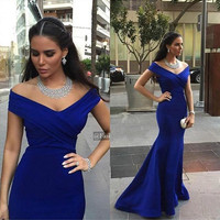 Elegant Navy Blue Off Shoulder Halter Taffeta Mermaid Prom Dresses Cheap Sexy Long Court Train Evening Party Gowns Free Shipping