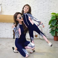 Korean Chidlren Girls Wetsuit Diving Suit Zipper Mother and Daughter Clothes Mommy and Me Long Sleeved Swimsuit Snorkeling Suit