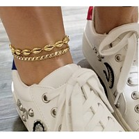 Solid 925 Sterling Silver Seashell Body Chain Adjustable Anklet