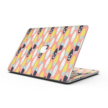 The Coral Colored SurfBoard Pattern - MacBook Pro with Retina Display Full-Coverage Skin Kit