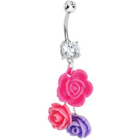 Handcrafted Crystalline Gem Rosy Flower Daze Dangle Belly Ring | Body Candy Body Jewelry
