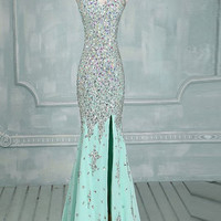 Mermaid Beaded Mint Front Split Long Prom Dress Evening Dresses ED0646