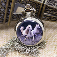 Vintage Horse Pattern Pocket Watch Pendant Watch with Necklace Chain P587