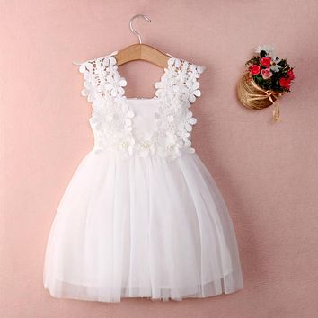 Party Lace Tulle Flower Gown Fancy Bridesmaid Dress Sundress Girls Dress