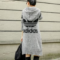 ADIDAS Hooded sweater knit grey cardigan Light grey
