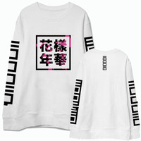 Kpop bts bangtan boys album same floral chinese letters printing sweatshirt fashion pullover hoodie for men women plus size