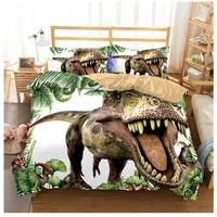 Jurassic Park Dinosaur Bedd Set Boys Bedclothes Childrens Bed Linen Set 3D Bed Duvet Cover Set US Twin for Teens Bedding set