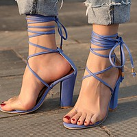 Hot Sale Women Sexy High-Heel Strapping Large-Size Sandals High-Heeled Shoes Blue