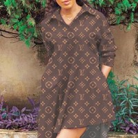 LV Louis Vuitton New fashion monogram print long sleeve dress women Coffee