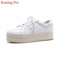 2018 Superstar Brand Genuine Leather Solid Flat with Platform Lace Up Round Toe Loafers Sneakers Vulcanized Casual Shoes L88