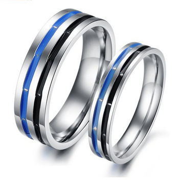 Gullei Trustmart : Blue black never fade steel commitment couple rings [GTMCR0061] - $14.00-Couple Gifts, Cool USB Drives, Stylish iPad/iPod/iPhone Cases & Home Decor Ideas