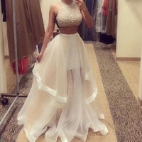 Sexy Women Lady Dress Two Piece Beaded Formal Party Sleeveless Long Pageant dress Ball gown 2016