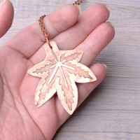 copper leaf necklace nature jewelry metalwork pendant etched jewelry gift women boho necklace artisan jewelry metal necklace leaf jewelry