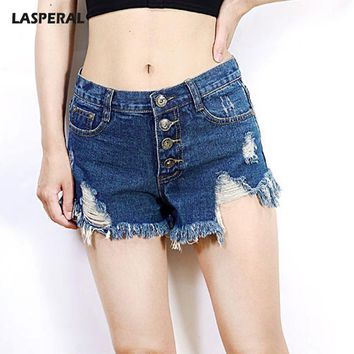 LASPERAL 2017 Sexy Hole Ripped Denim Shorts Women Vintage Buckle Tassel Shorts Jeans For Girls Summer Fashion Hot Short Feminino