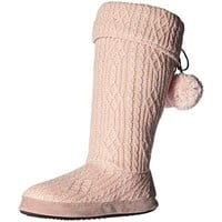 Muk Luks Womens Wiona Knit Lined Bootie Slippers