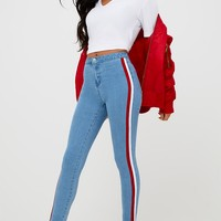 Mid Wash Sports Stripe High Waisted Skinny Jean