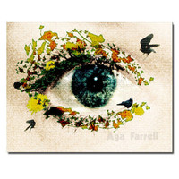FREE SHIPPING - Surreal wall art, Blue Eye photography, Woman and Nature, Fine Art, 5x7, quirky gift