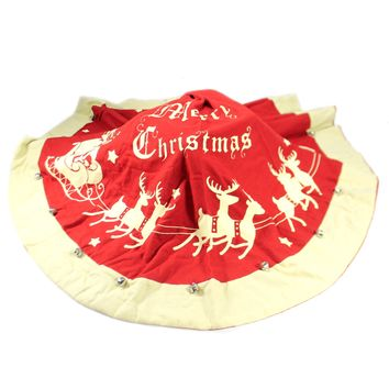Christmas VINTAGE TREE SKIRT LARGE Cotton Bells Santa Sleigh 16657