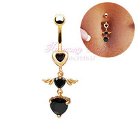 EUDROA HIGH QUALITY body piercing navel piercing barbell surgical steel HEARTS ANGEL WING belly ring belly button ring belly BAR