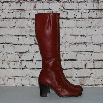 70s Tall Boots US 9 Stacked Wood Heel Leather Knee High Brown Red Boho Hippie Festival Hipster Earthy Go Go 60s Distressed 8.5
