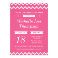 Pink Chevron Stylish Graduation Party Invitations 5