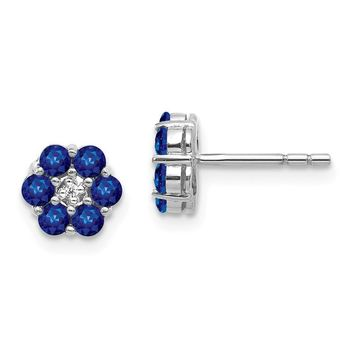 14K White Gold Genuine Blue Sapphire And Diamond Post Flower Earrings