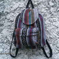 Ikat Aztec Backpack Boho Tribal Woven Hippies Tapestry Ethnic Rucksack Hobo Gypsy Nepali Pattern Bags Purse Native Design For School Chic