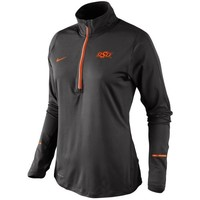 Nike Oklahoma State Cowboys Ladies Tonal Element Half-Zip Performance Top - Charcoal