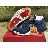 Air Jordan 4 Retro Levi's High-Top Men Sneakers Cushion Basketball Shoes