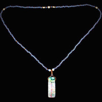 Dichroic Glass Pendant On Periwinkle Beaded Necklace, Boho Jewelry
