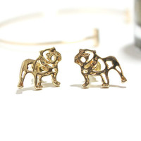 Small Gold Earrings - 18K Gold Earrings - Animal Jewelry - Bulldog Stud Earrings