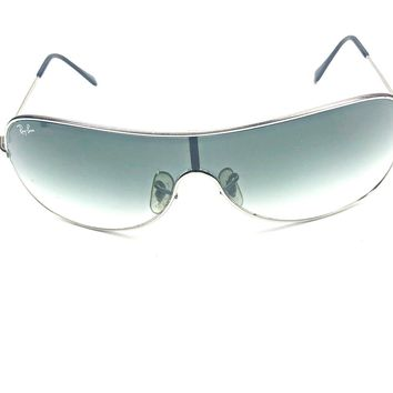 RB 3211 Ray Ban SHIELD SUNGLASSES Unisex Silver Frames Gray Lenses Size Large